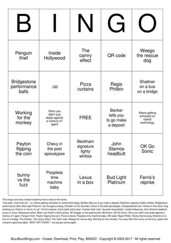 Download Super Bowl Ad Bingo Bingo Cards