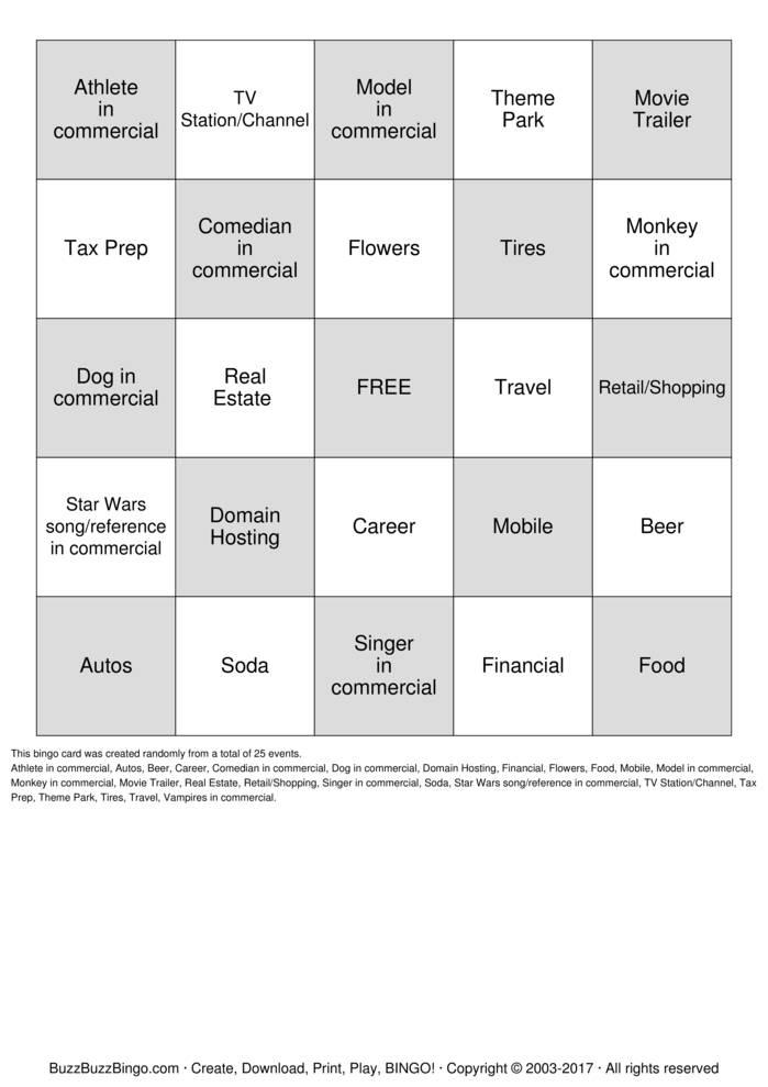 print superbowl commercials bingo cards customize superbowl ...
