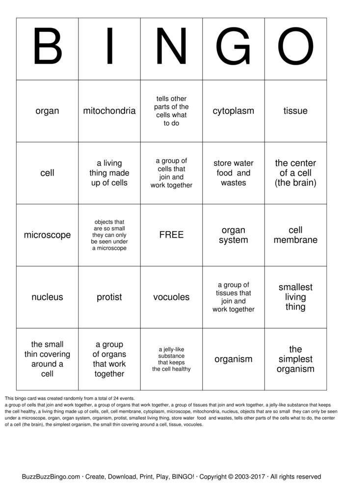 Download Animal and Plant Cells Bingo Cards