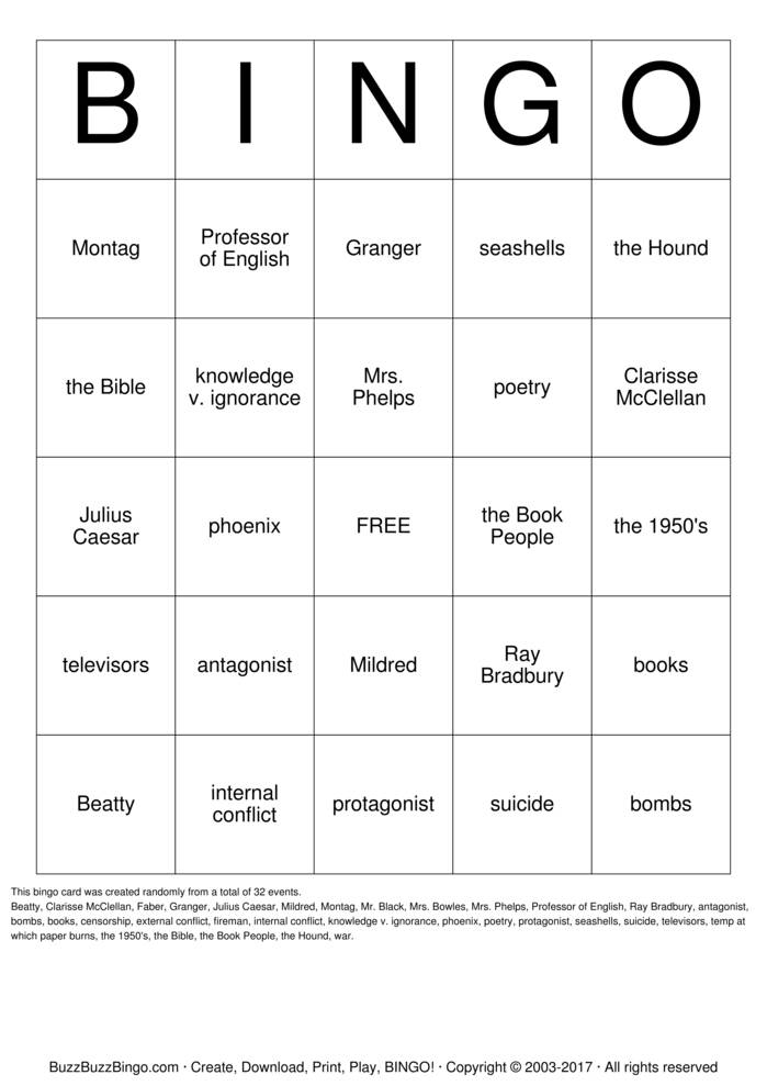 Download Fahrenheit 451 Bingo Cards