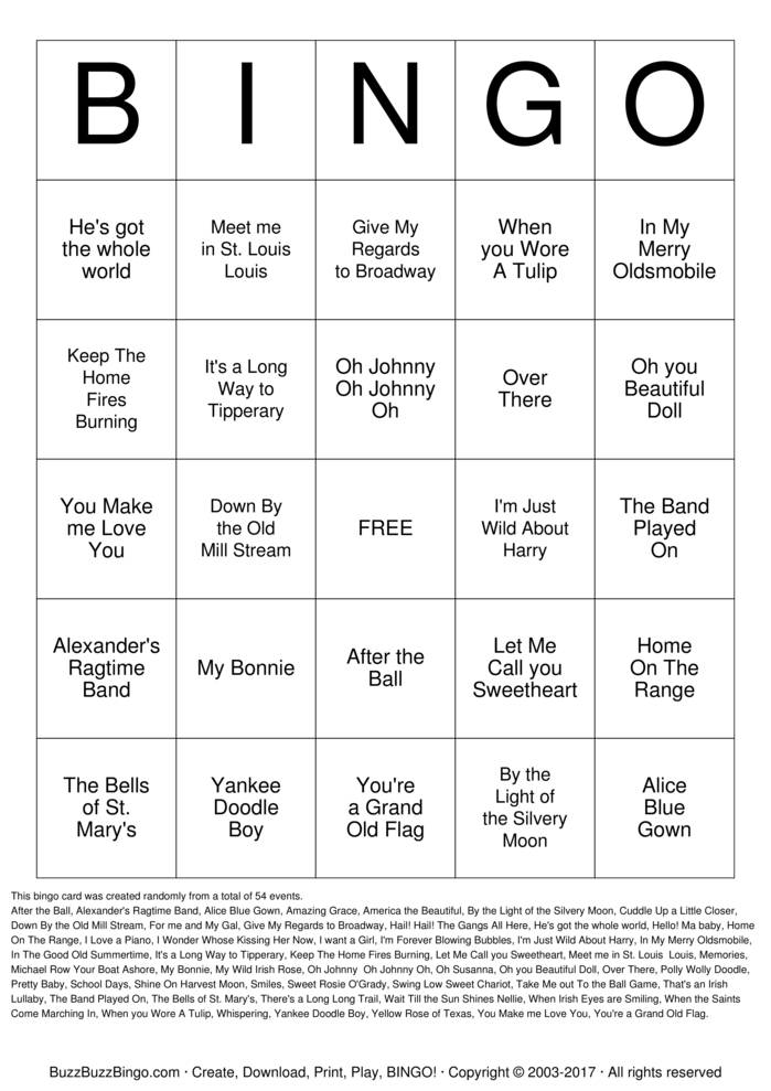 Current image intended for musical bingo cards printable
