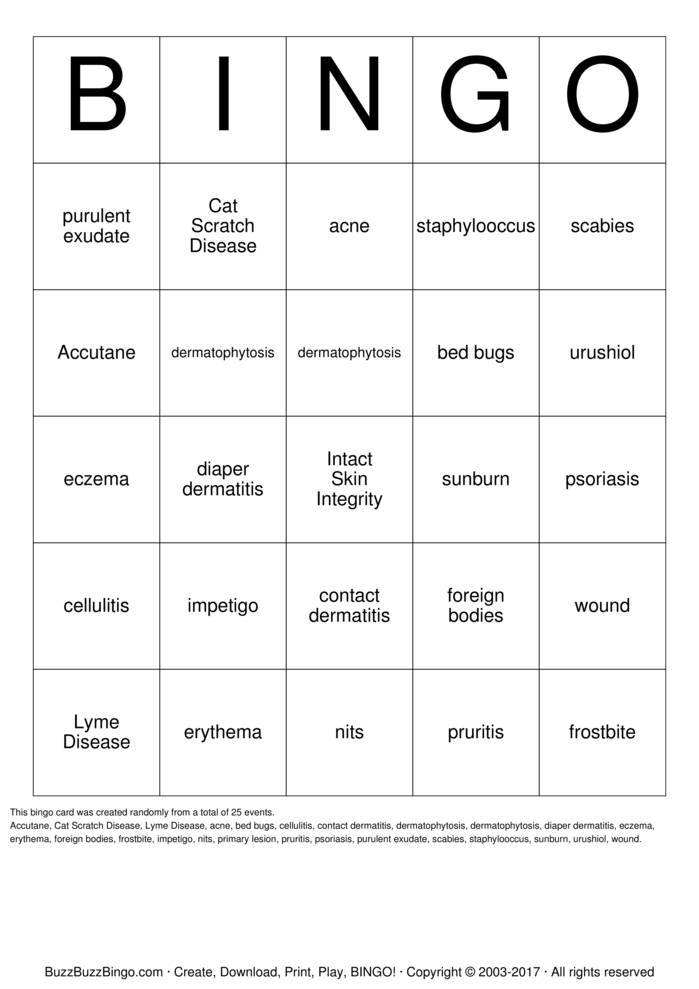 Download Tissue Integrety Bingo Cards