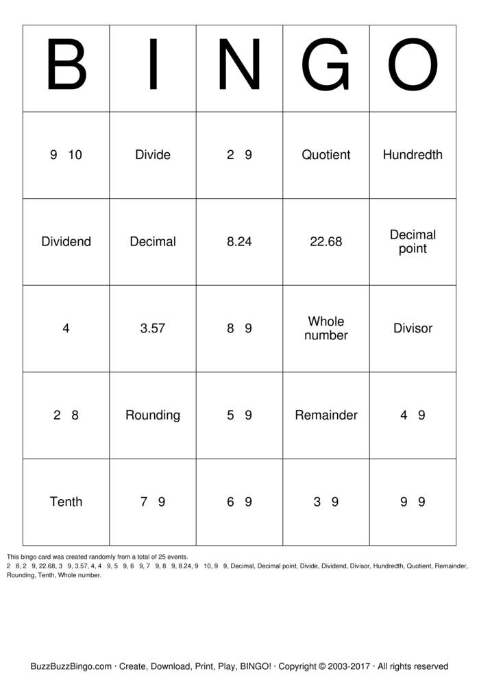 Download Dividing Decimals Bingo Cards