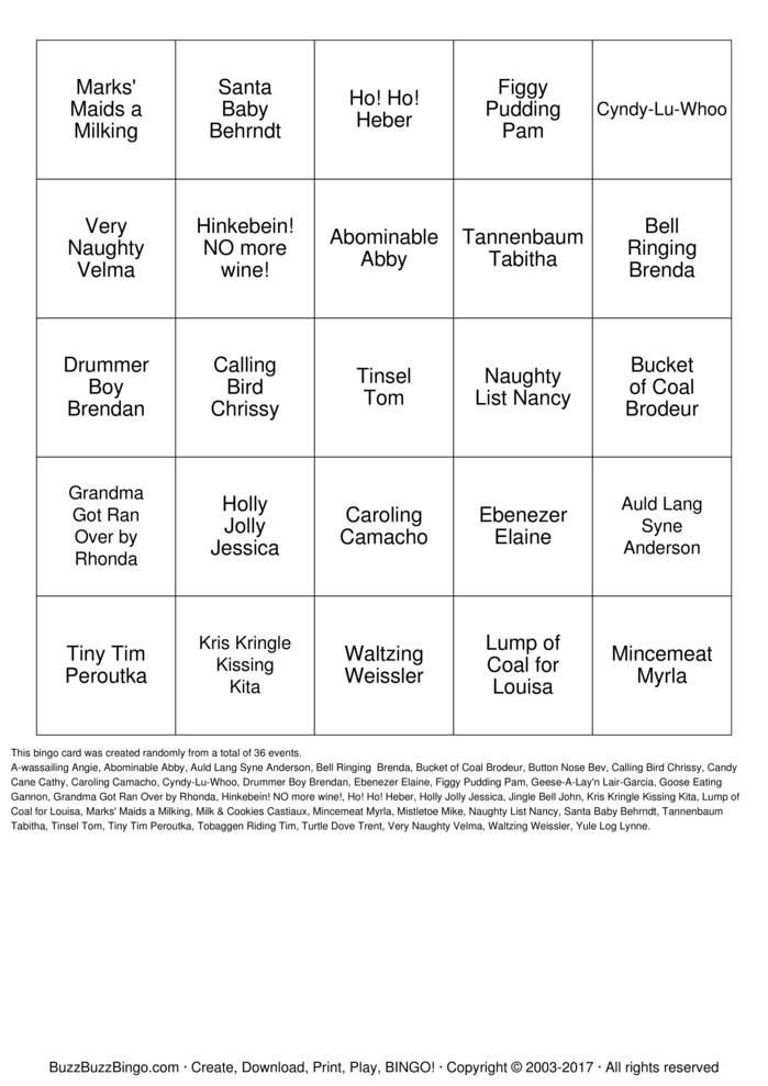 Download Happy Holidays Team Fenton! Bingo Cards