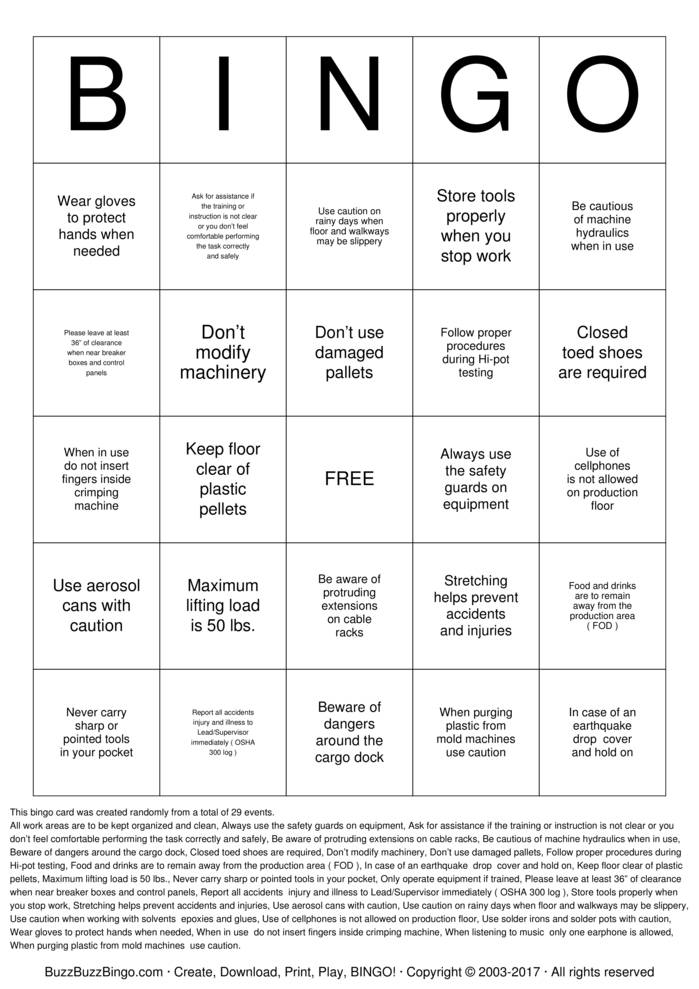 Download ISC Safety Bingo Bingo Cards