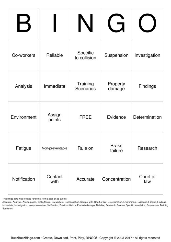 Lawyer Bingo Card