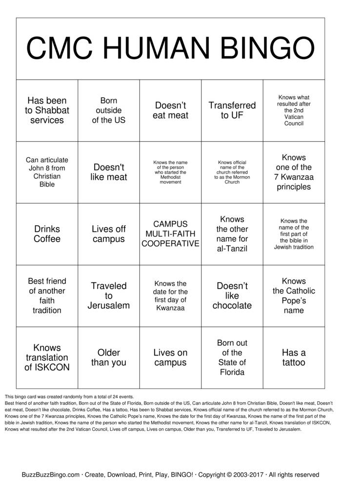 Cmc Human Bingo Bingo Cards To Download Print And Customize