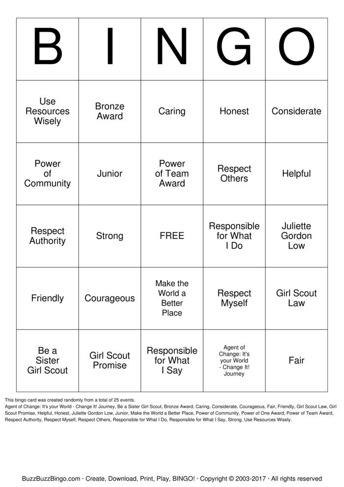 Girl Scout Law Bingo Card