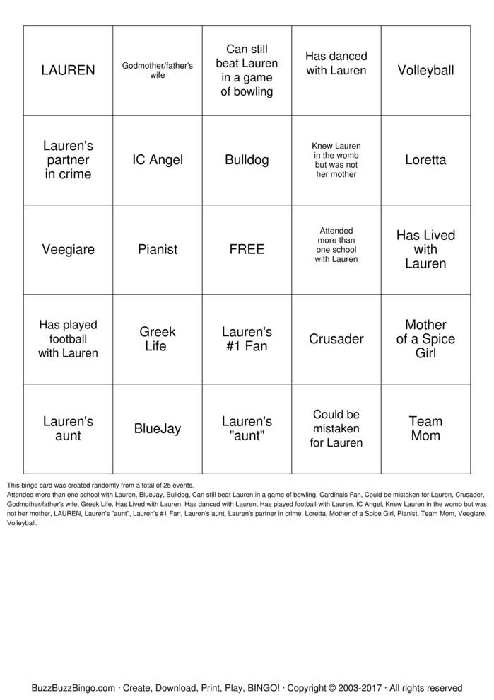 Download Lauren\'s Bridal Shower Bingo Cards