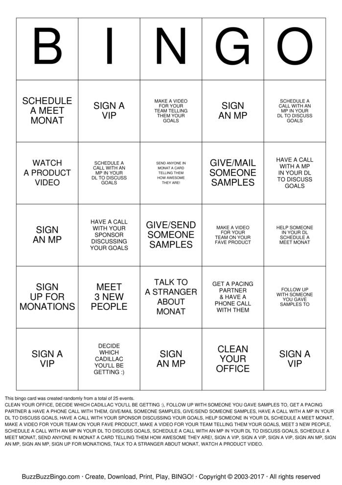 MONAT Bingo Cards To Download Print And Customize
