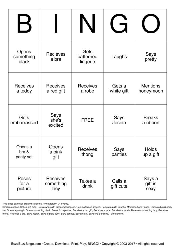 Download Morgen's Shower Bingo Cards