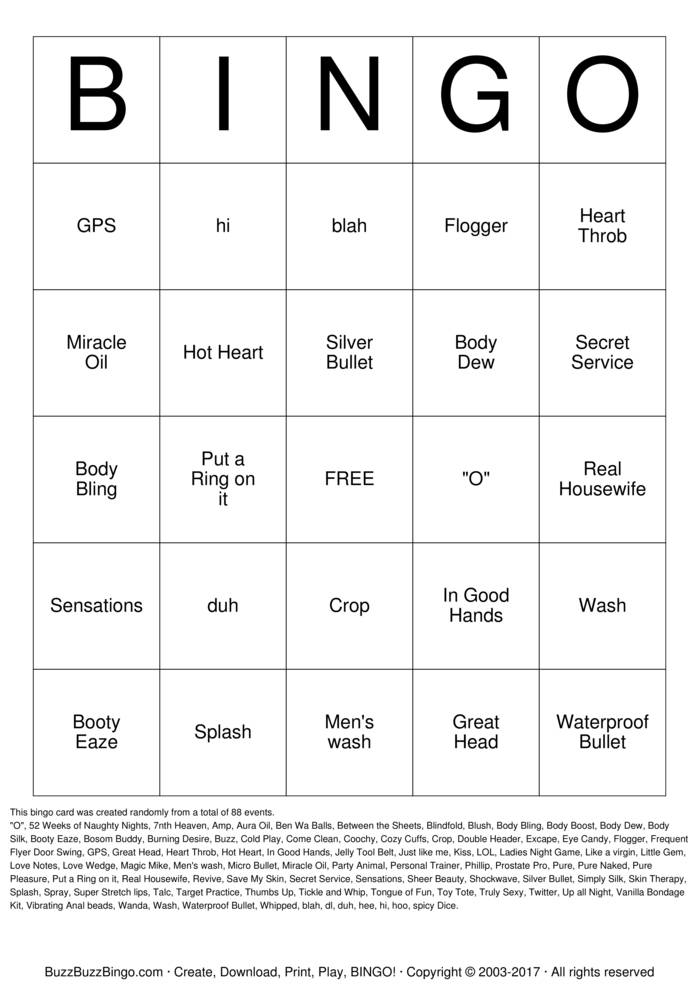 Download Naughty Bingo  Bingo Cards