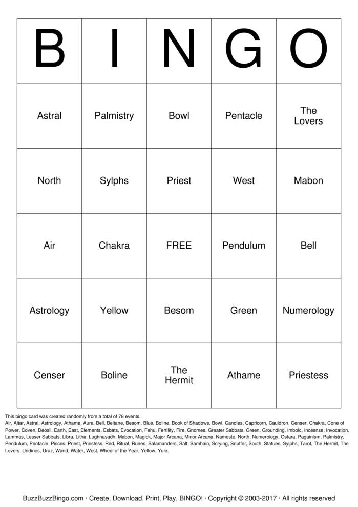 Pagan Bingo Card