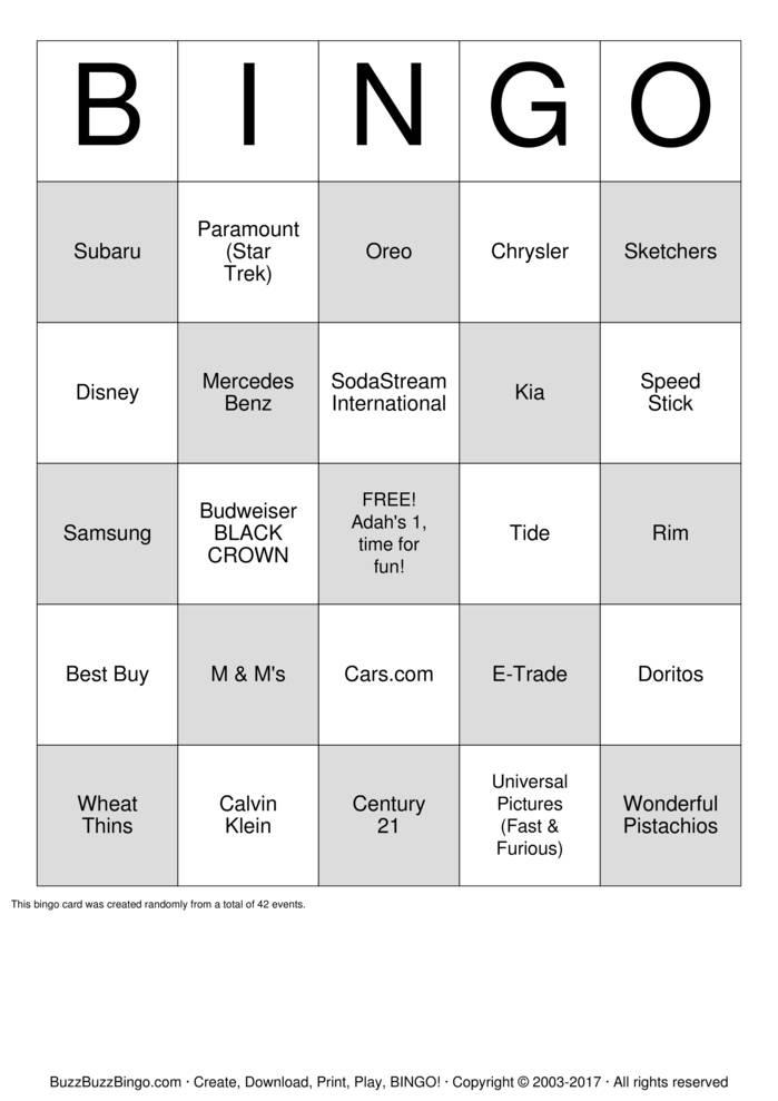 Download Superbowl Commercial Bingo Bingo Cards