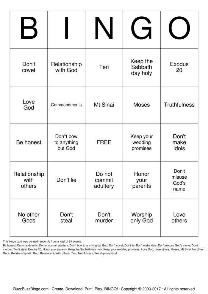 The 10 Commandments  Bingo Card