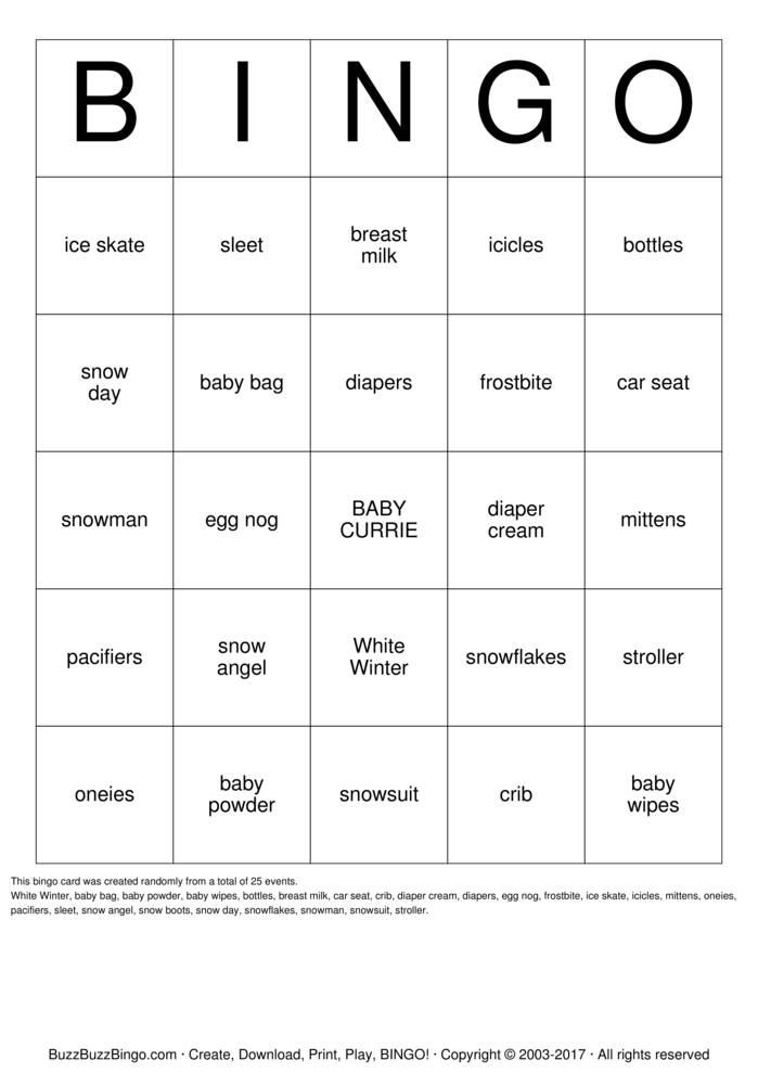 Download Winter White BABY SHOWEr Bingo Cards