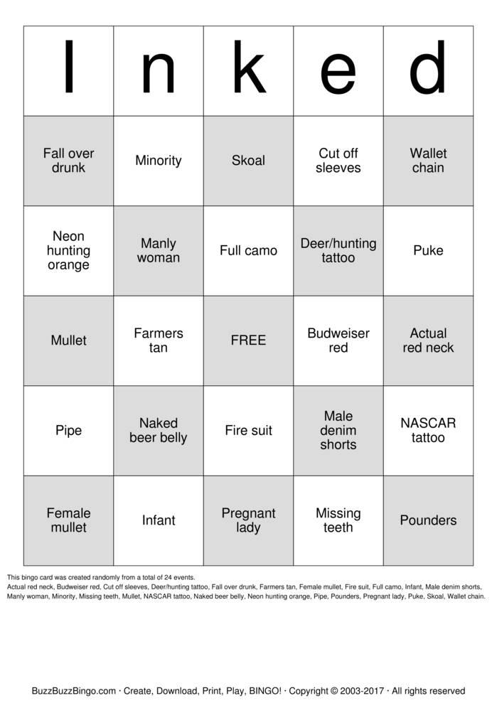 Download tattoo Bingo Cards