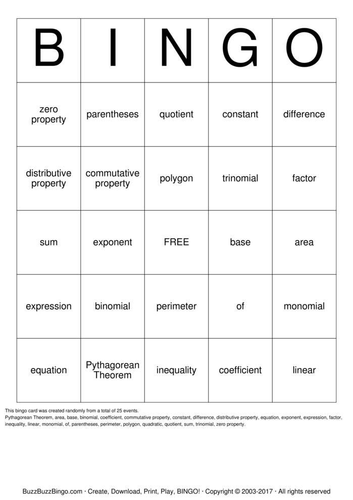 Download Algebra Bingo Bingo Cards