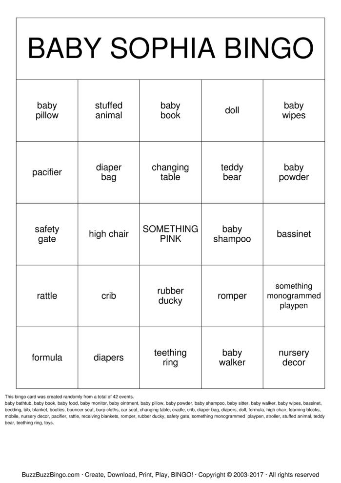 Download Baby Shower Bingo Cards