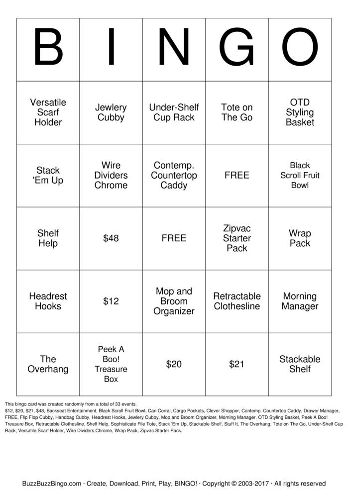 Download Clever Container Bingo Cards