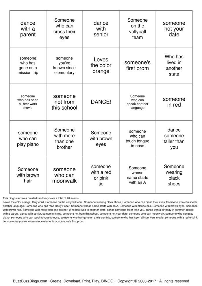 Download DANCE Bingo Cards