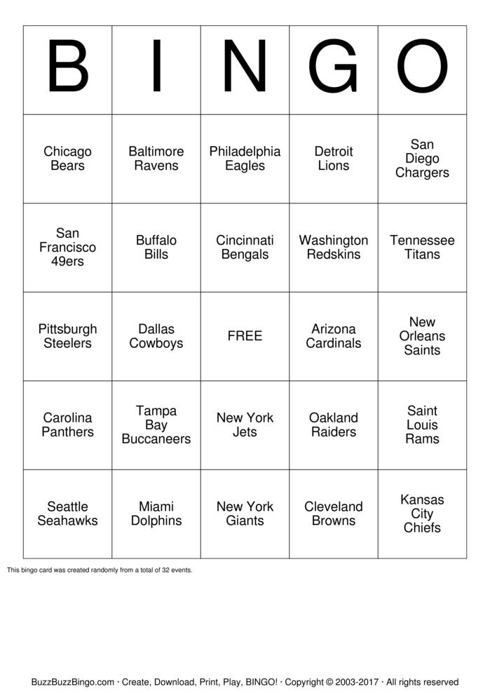 Football Team Names Bingo Cards To Download Print And