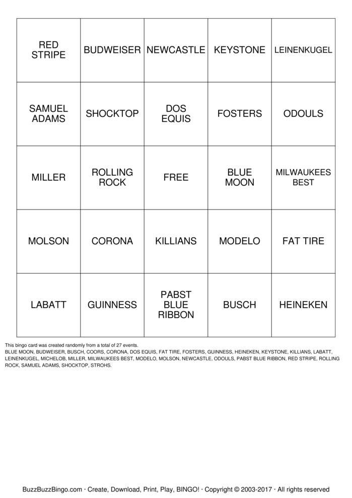 Download BEERO Bingo Cards