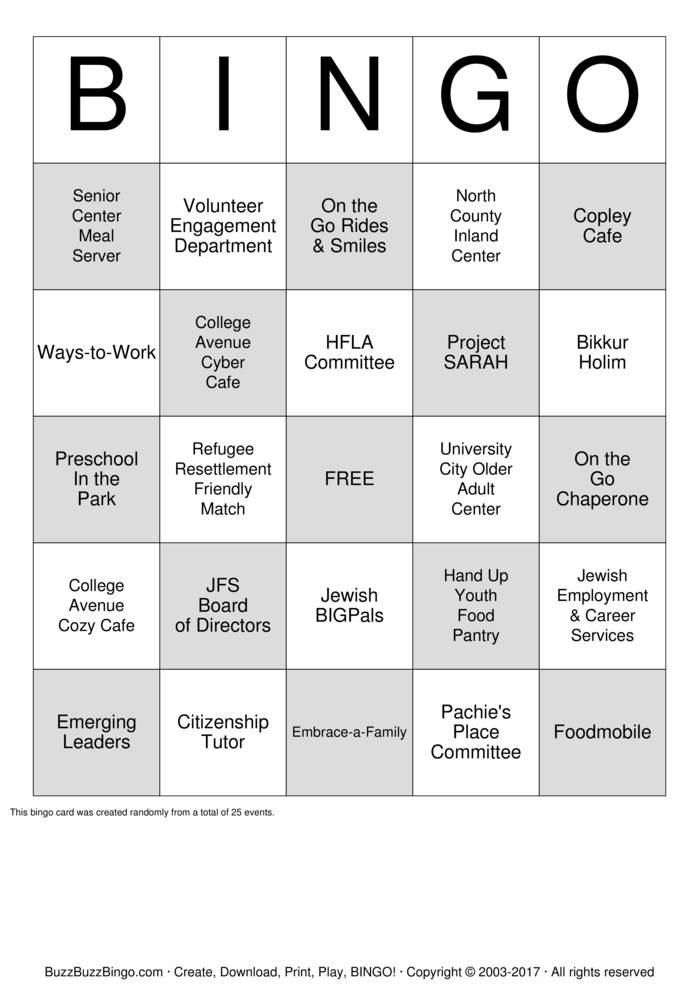 Jewish Family Service Bingo Cards to Download, Print and Customize!