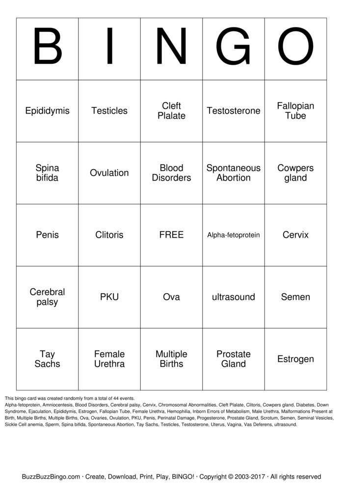 Print Sickle cell anemia Bingo Cards