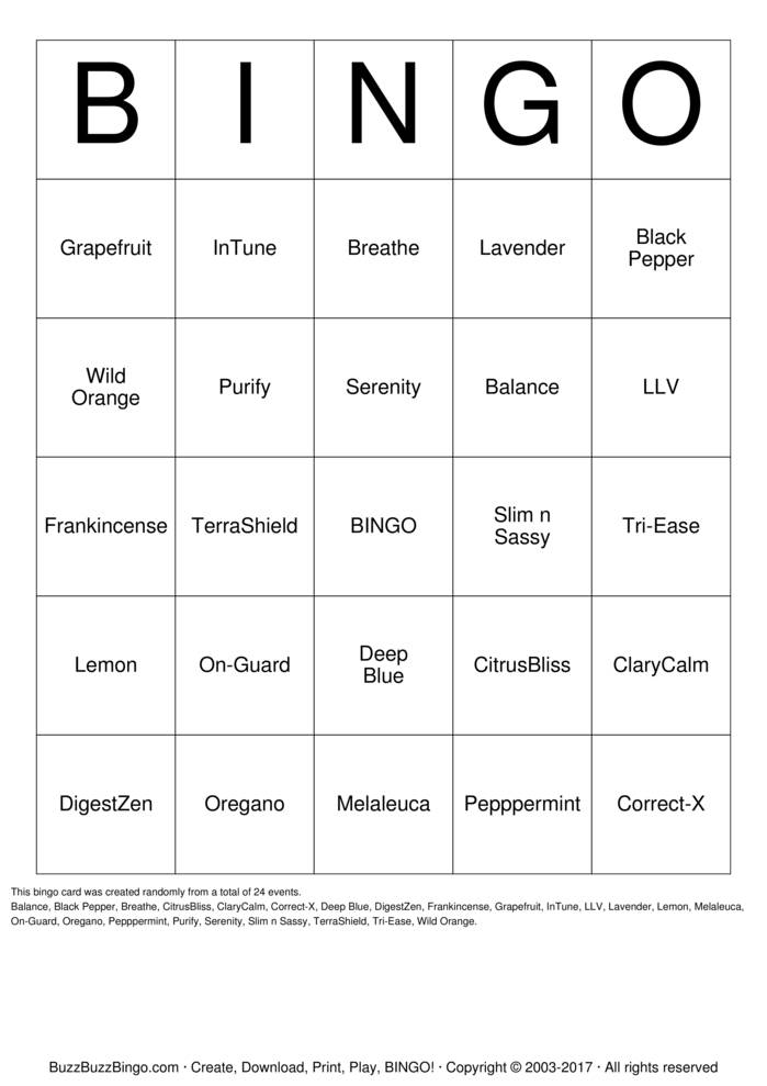 Download doTERRA OILS Bingo Cards