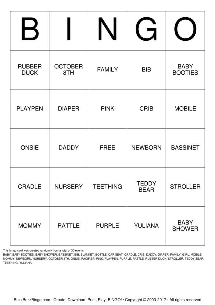Download Baby Bingo Bingo Cards