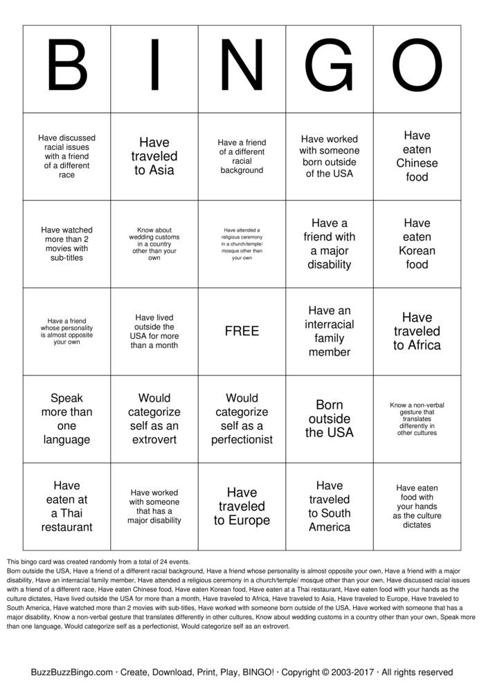 Download Diversity Bingo Cards