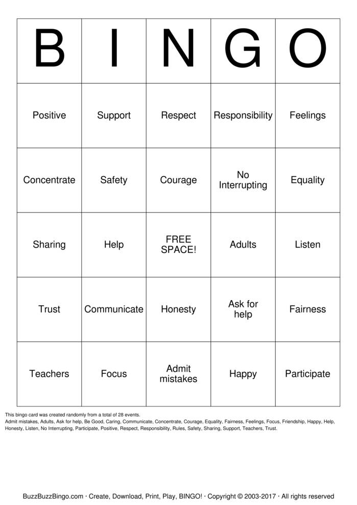 Download RESPECT Bingo Cards