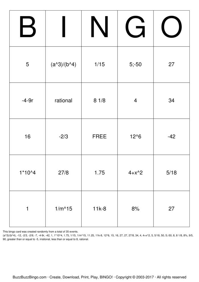 7th Grade Math Bingo Cards To Download Print And Customize