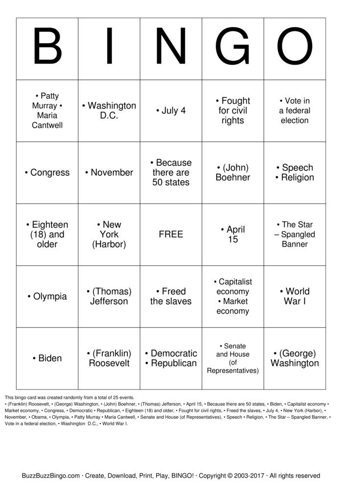 Citizenship Bingo Cards to Download, Print and Customize!