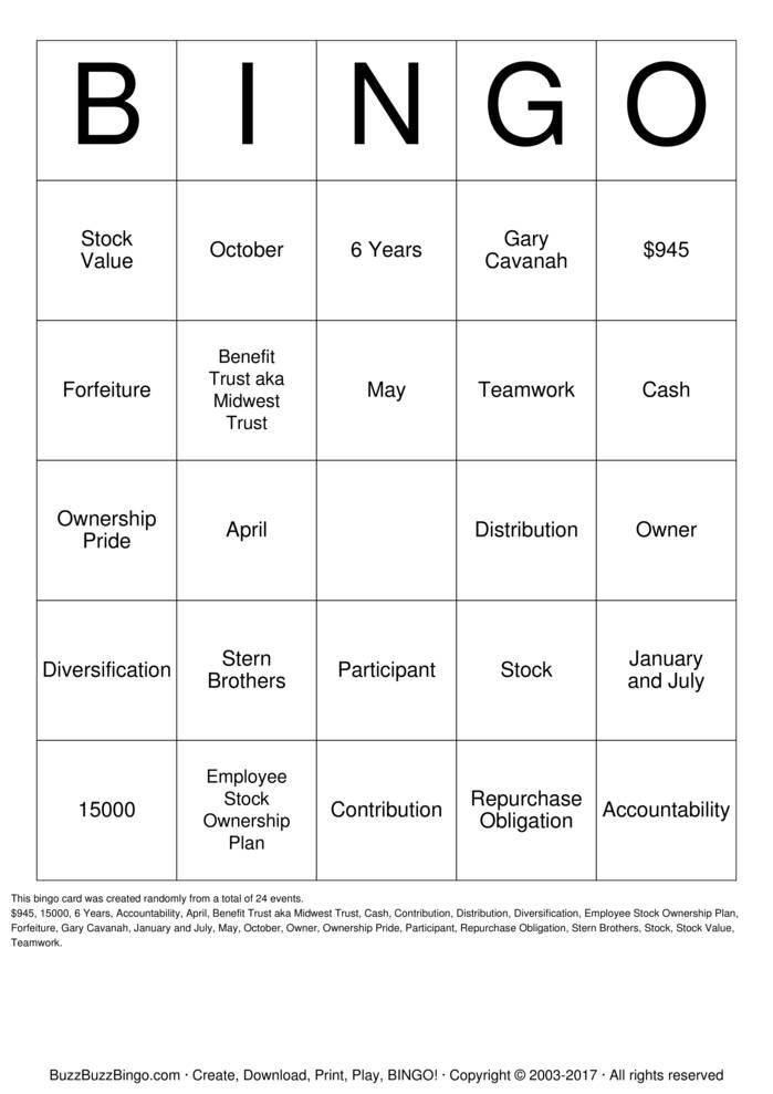 Download ESOP Bingo Bingo Cards