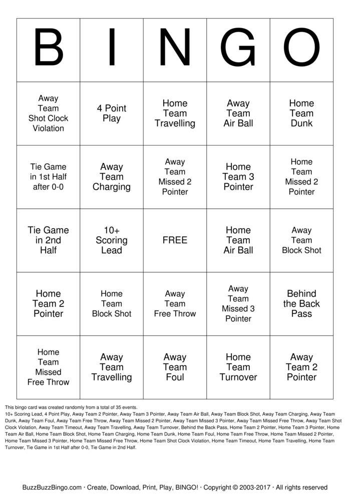 NCAA Basketball Bingo Card