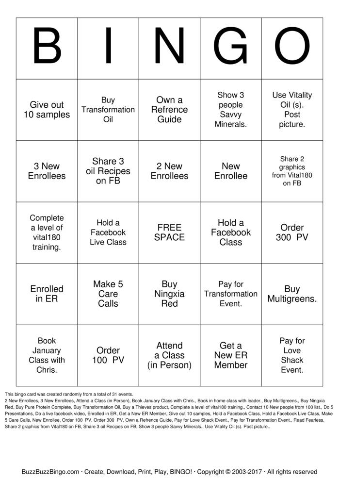 Download Oily Bingo Bingo Cards