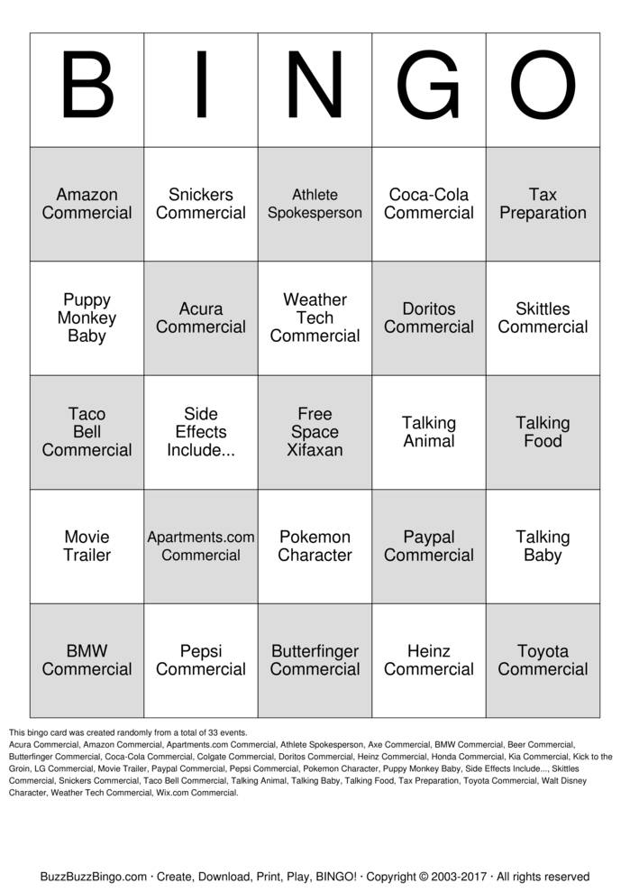 Download 2016 Superbowl Commercials Bingo Cards
