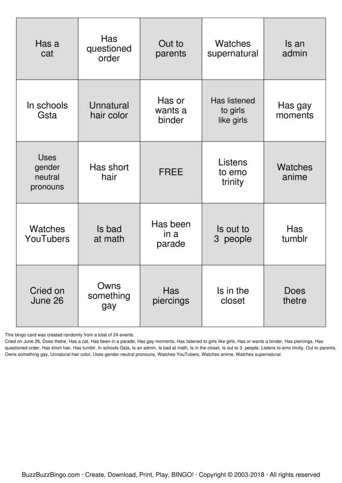 Download LGBTQ  bingo Bingo Cards