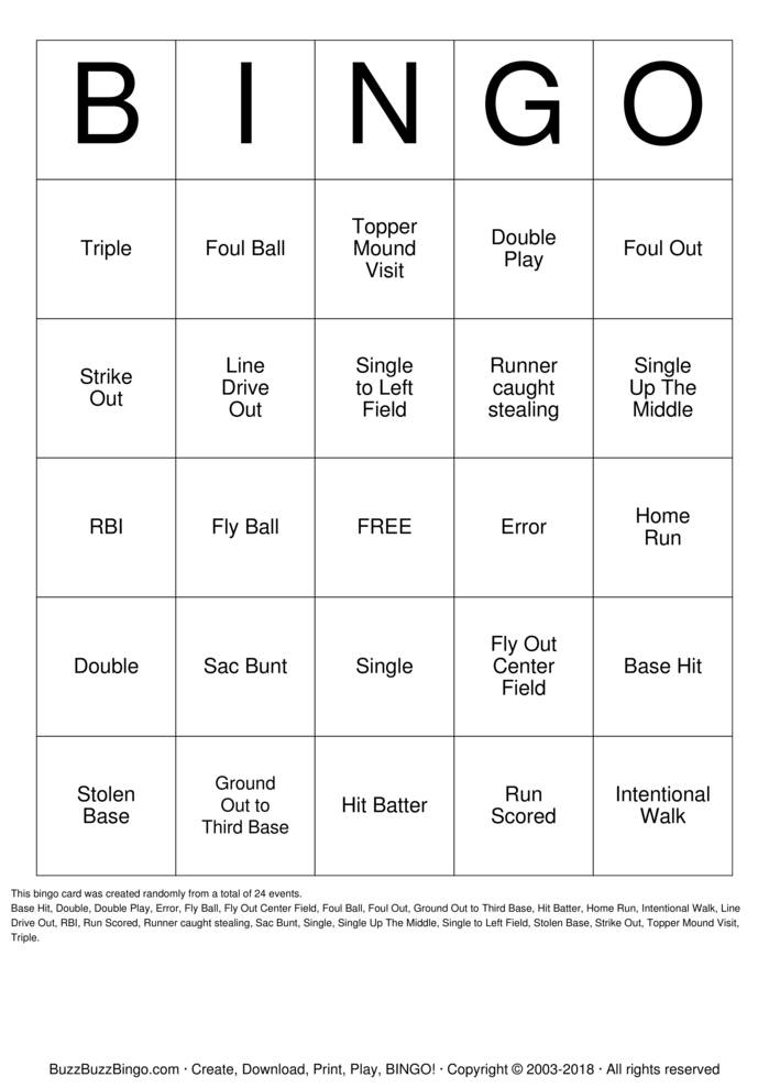 Download Softball Bingo Bingo Cards