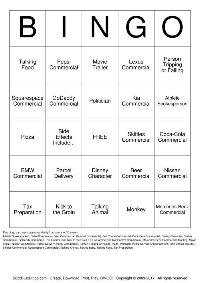 2015 Superbowl Commercials Bingo Cards to Download, Print and ...