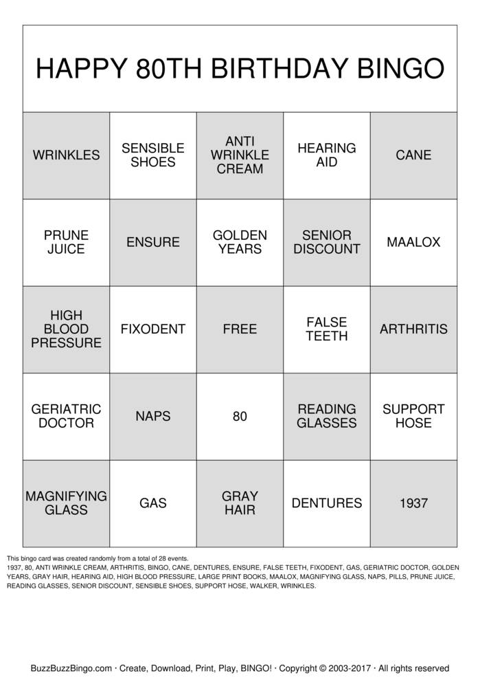 Download HAPPY 80TH BIRTHDAY BINGO Bingo Cards