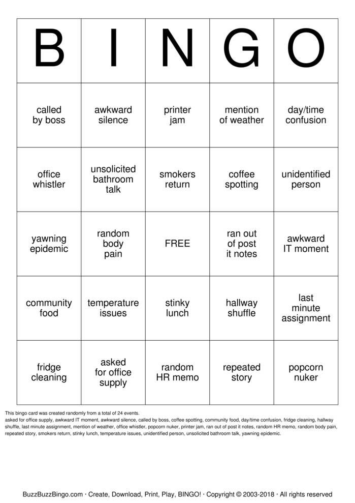 Office Bingo Cards To Download Print And Customize