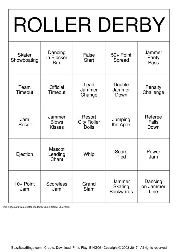 Download ROLLER DERBY Bingo Cards