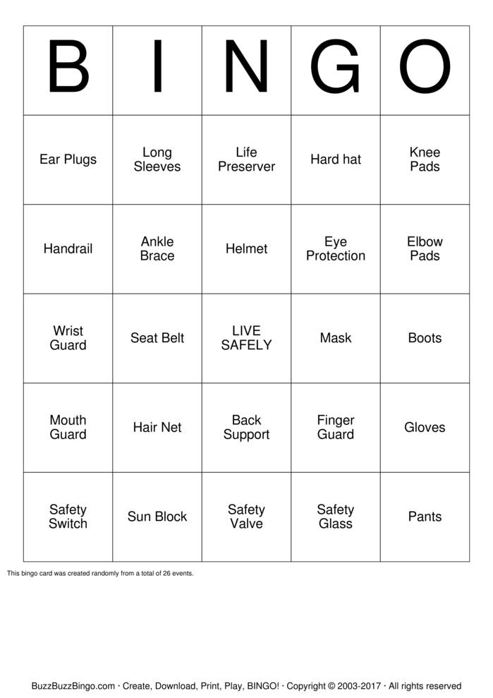 Download Safety Bingo Cards
