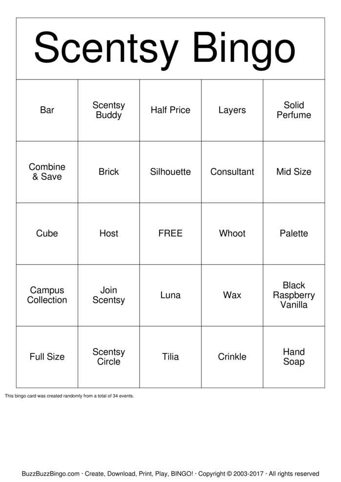 Download Scentsy Bingo Cards