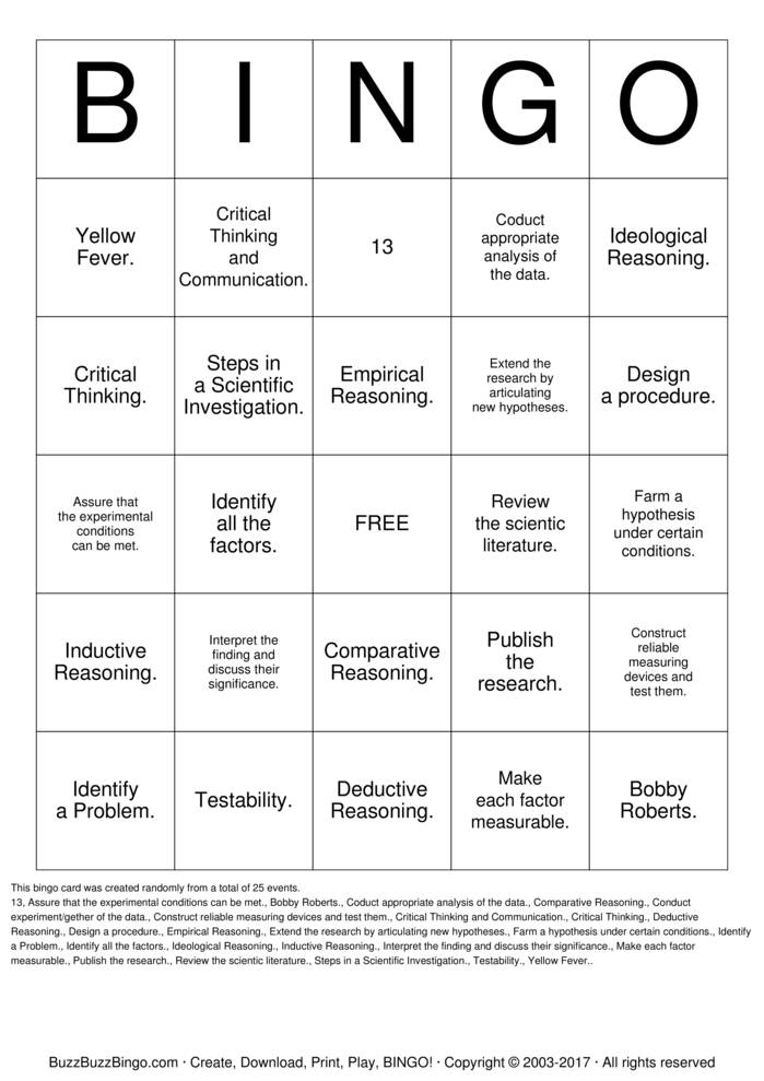 think critically bingo cards to download