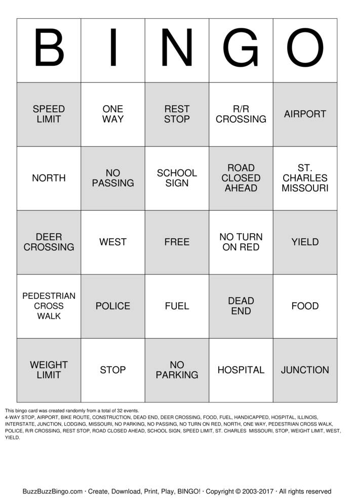 This is a photo of Modest Traveling Bingo Cards