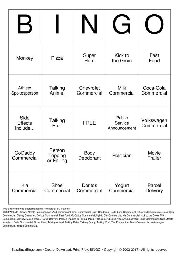 2014 Superbowl Commercials Bingo Cards To Download Print